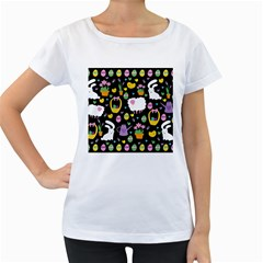 Cute Easter pattern Women s Loose-Fit T-Shirt (White)