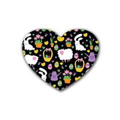 Cute Easter pattern Heart Coaster (4 pack)