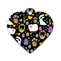 Cute Easter pattern Dog Tag Heart (One Side)
