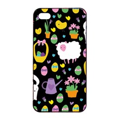 Cute Easter pattern Apple iPhone 4/4s Seamless Case (Black)