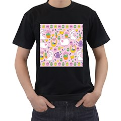 Cute Easter pattern Men s T-Shirt (Black) (Two Sided)