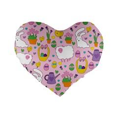 Cute Easter pattern Standard 16  Premium Heart Shape Cushions