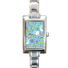 Cute Easter pattern Rectangle Italian Charm Watch