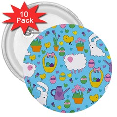 Cute Easter pattern 3  Buttons (10 pack)
