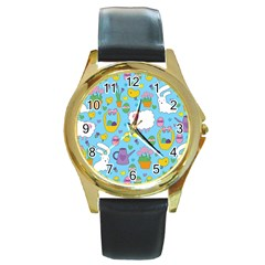 Cute Easter pattern Round Gold Metal Watch