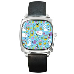 Cute Easter pattern Square Metal Watch