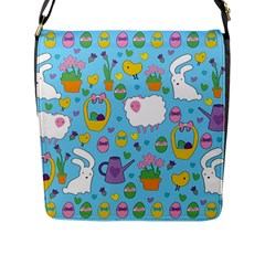 Cute Easter pattern Flap Messenger Bag (L)