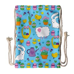 Cute Easter pattern Drawstring Bag (Large)