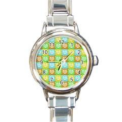 Colorful Happy Easter Theme Pattern Round Italian Charm Watch