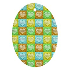 Colorful Happy Easter Theme Pattern Ornament (Oval)