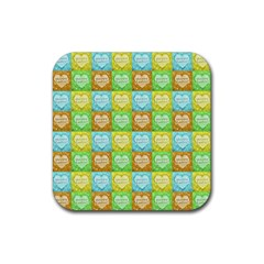 Colorful Happy Easter Theme Pattern Rubber Square Coaster (4 pack)
