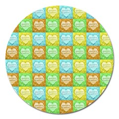 Colorful Happy Easter Theme Pattern Magnet 5  (Round)