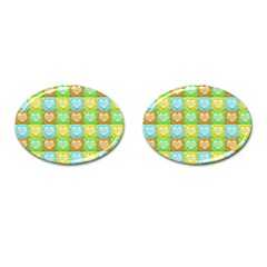 Colorful Happy Easter Theme Pattern Cufflinks (Oval)