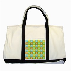 Colorful Happy Easter Theme Pattern Two Tone Tote Bag