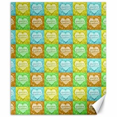 Colorful Happy Easter Theme Pattern Canvas 20  x 24