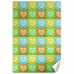 Colorful Happy Easter Theme Pattern Canvas 24  x 36