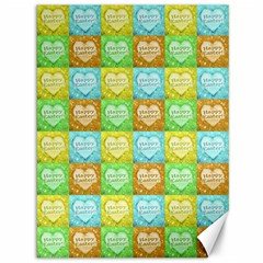 Colorful Happy Easter Theme Pattern Canvas 36  x 48