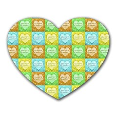 Colorful Happy Easter Theme Pattern Heart Mousepads