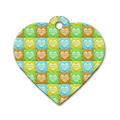 Colorful Happy Easter Theme Pattern Dog Tag Heart (Two Sides)