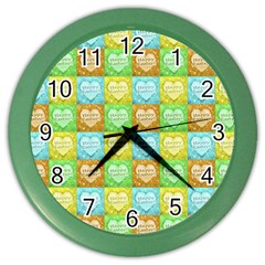 Colorful Happy Easter Theme Pattern Color Wall Clocks