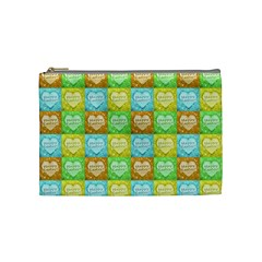 Colorful Happy Easter Theme Pattern Cosmetic Bag (Medium)
