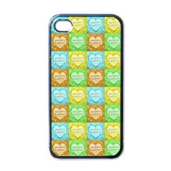 Colorful Happy Easter Theme Pattern Apple iPhone 4 Case (Black)