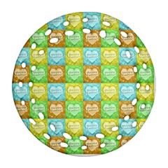 Colorful Happy Easter Theme Pattern Round Filigree Ornament (Two Sides)