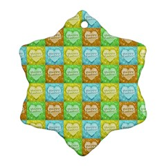 Colorful Happy Easter Theme Pattern Snowflake Ornament (Two Sides)