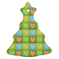 Colorful Happy Easter Theme Pattern Christmas Tree Ornament (Two Sides)