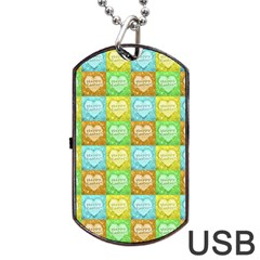 Colorful Happy Easter Theme Pattern Dog Tag USB Flash (Two Sides)
