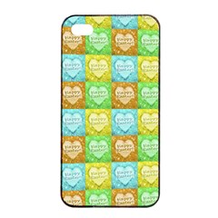 Colorful Happy Easter Theme Pattern Apple iPhone 4/4s Seamless Case (Black)