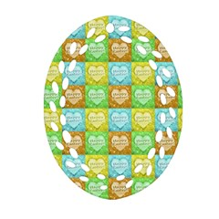 Colorful Happy Easter Theme Pattern Ornament (Oval Filigree)