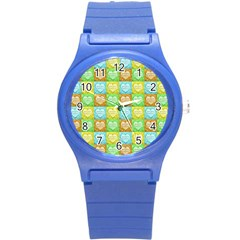 Colorful Happy Easter Theme Pattern Round Plastic Sport Watch (S)
