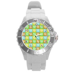 Colorful Happy Easter Theme Pattern Round Plastic Sport Watch (L)