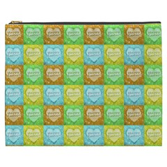 Colorful Happy Easter Theme Pattern Cosmetic Bag (XXXL)