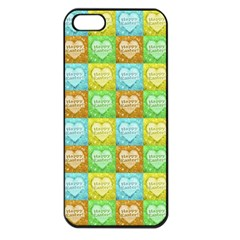 Colorful Happy Easter Theme Pattern Apple iPhone 5 Seamless Case (Black)