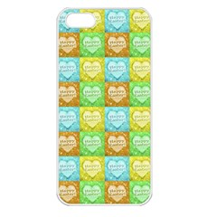Colorful Happy Easter Theme Pattern Apple iPhone 5 Seamless Case (White)