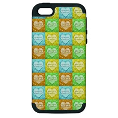 Colorful Happy Easter Theme Pattern Apple iPhone 5 Hardshell Case (PC+Silicone)