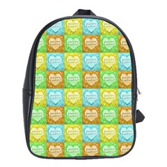 Colorful Happy Easter Theme Pattern School Bags (XL)