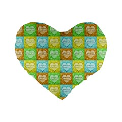 Colorful Happy Easter Theme Pattern Standard 16  Premium Heart Shape Cushions