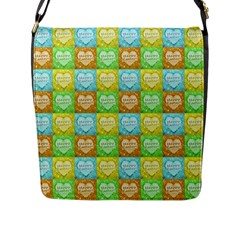 Colorful Happy Easter Theme Pattern Flap Messenger Bag (L)