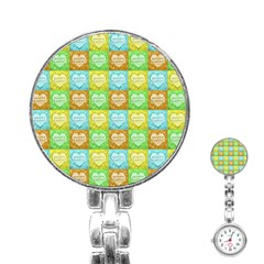 Colorful Happy Easter Theme Pattern Stainless Steel Nurses Watch