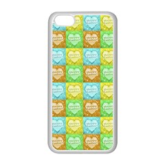 Colorful Happy Easter Theme Pattern Apple iPhone 5C Seamless Case (White)
