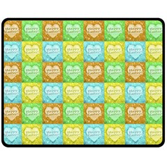 Colorful Happy Easter Theme Pattern Double Sided Fleece Blanket (Medium)