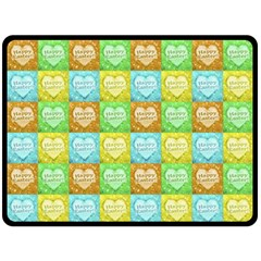 Colorful Happy Easter Theme Pattern Double Sided Fleece Blanket (Large)