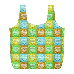 Colorful Happy Easter Theme Pattern Full Print Recycle Bags (L)
