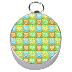 Colorful Happy Easter Theme Pattern Silver Compasses