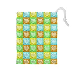 Colorful Happy Easter Theme Pattern Drawstring Pouches (Large)