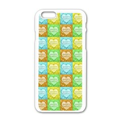 Colorful Happy Easter Theme Pattern Apple iPhone 6/6S White Enamel Case