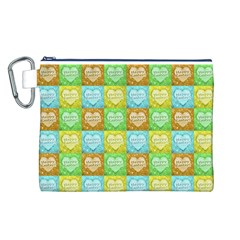Colorful Happy Easter Theme Pattern Canvas Cosmetic Bag (L)